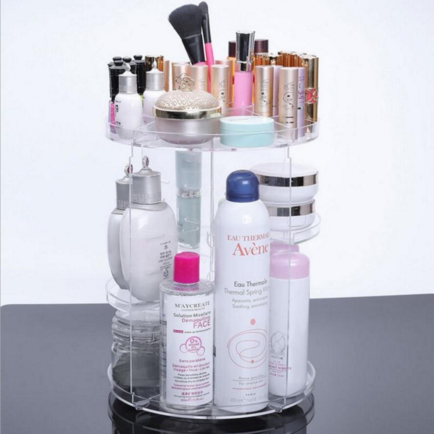 Desktop cosmetics finishing shelves wholesale Rotating PS transparent detachable storage box order f