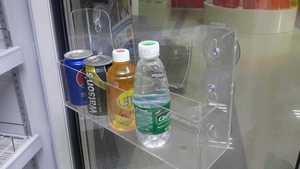 Acrylic refrigerator suction cup rack convenience store beverage display rack removable storage box